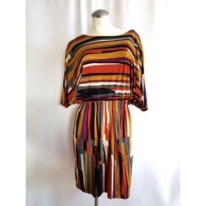 Oleg Cassini Size 8 Multi-Color Midi Dress